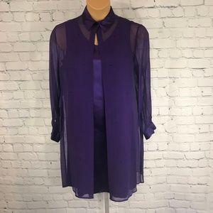 Vtg Robbie Bee Long Sheer Purple Silk Duster Dress